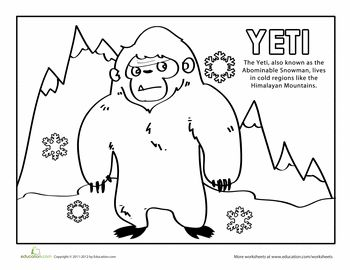 Yeti Coloring Page | Cool coloring pages, Coloring pages ...