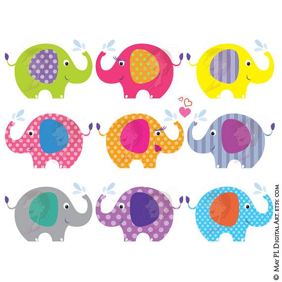 10 cute bright coloured Baby Elephant Clipart designs (9 cute individual Baby Elephant Clipart and 1 pair of orange polka dot and purple striped lovely elephants designs! Total of 10 clip art files!) Excellent for making ...  Invitation cards, Birthday cards, Thank You cards, all kinds of cards! Scrapbooking paper, gift wrapping, etc. Banners, tags, cupcake toppers. _________________________________________ For this INSTANT DOWNLOAD product, you will receive the following: Size of each clip…
