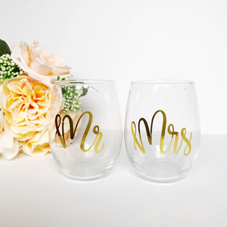 Mr & Mrs Stemless Wine Glasses - Wine Glass, Mr and Mrs, Wedding Gift by TheLovelyLetteringCo on Etsy