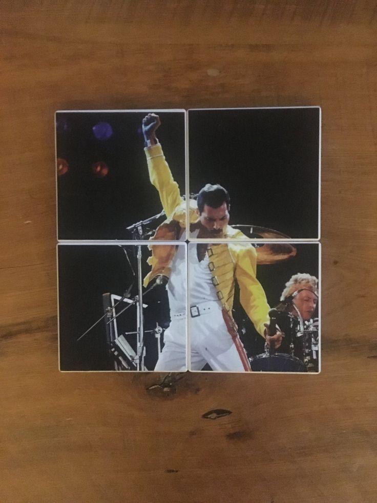 FREDDIE MERCURY of QUEEN Lead Singer Rock Opera Bohemian Rhapsody Under Pressure on Set of 4 Ceramic Heat Resistant Drink Beverage Coasters by UpcyclingIt on Etsy