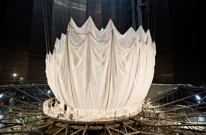 Construction of Christo's Big Air Package at Gasometer Oberhausen, Germany