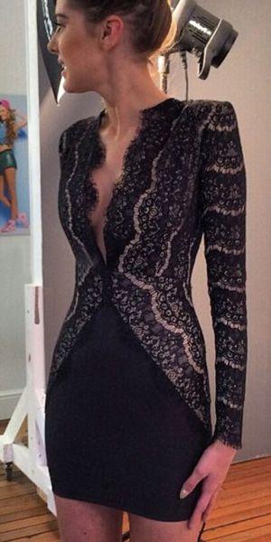 Sexy Deep V-neck Lace Spliced Long Sleeve Slim Fit Dress