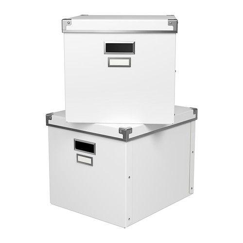 KASSETT Box with lid - white, 13x15x11 ¾