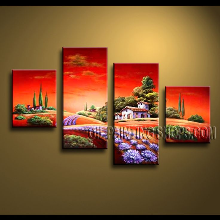 Huge Contemporary Wall Art Oil Painting On Canvas For Living Room Landscape. This 4 panels canvas wall art is hand painted by Anmi.Z, instock - $144. To see more, visit OilPaintingShops.com