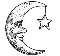 crescent moon face with star