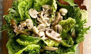 Salada de folhas com cogumelos e vinagre de framboesa