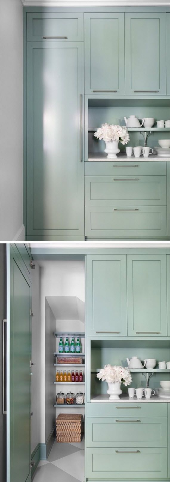kitchen pantry under the stairs - brilliant use of space! #kitchens #pantry