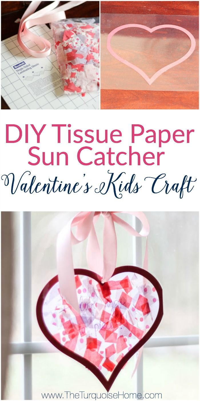 We used this in my daughter's Kindergarten class party! The kids LOVED it! | DIY Tissue Paper Sun Catcher Valentine's Kid Craft
