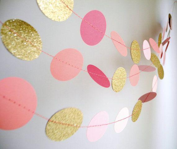 Gold Pink garland, glitter garland, circle paper , pink baby shower decor, nursery decor, girl birthday party garland via Etsy