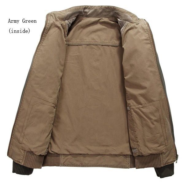 Mens Outdoor Double Wear Stand Collar Utility Jacket Big Size Spring Autumn Cotton Coat at Banggood