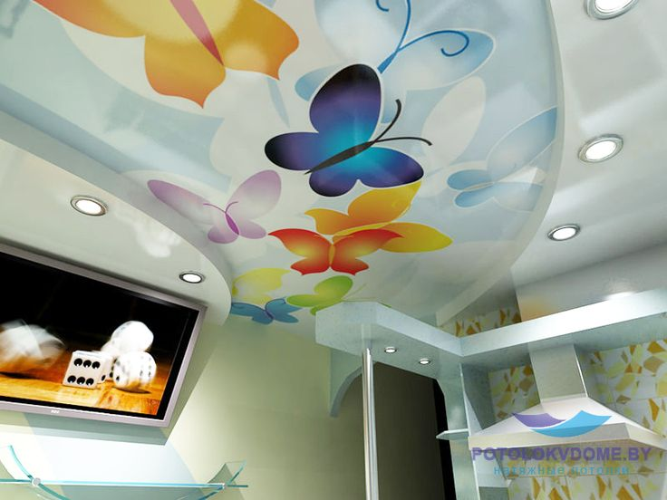Натяжные потолки для зала в дизайне 44