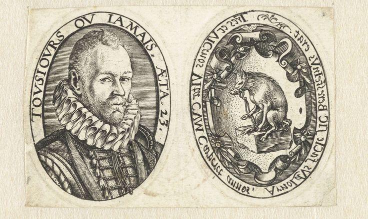 Hendrick Goltzius | Afdrukken van de twee zijden van het portretmedaillon van Arnoud van Beresteyn, Hendrick Goltzius, 1579 | Op één blad afdrukken van de twee zijden van een portretmedaillon. Afdruk 1: portret van Arnoud van Beresteyn, op 23- jarige leeftijd, geplaatst in een ovaal met een randinscriptie in spiegelbeeld. Afdruk 2: familiewapen van de familie Van Beresteyn uit Haarlem (een mannetjesvarken of beer op een steen) in ovaal. Rondom het ovaal een inscriptie in spiegelbeeld. Een…
