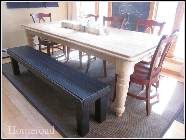 diy bench. Absolutely love the white table with black bench and red chairs. farmhouse vintage chic. LOVES IT!!
