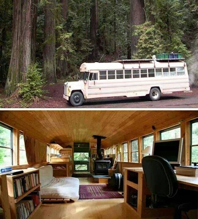 Wow - this is pretty amazing!  School Bus Into A Cozy Cabin On Wheels