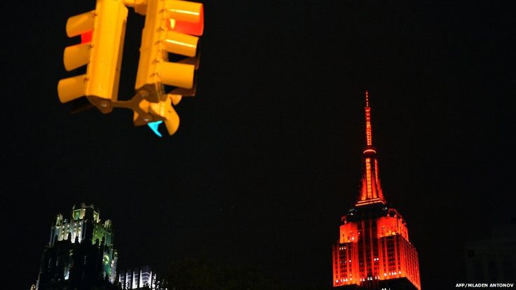 The Empire State building is lit up in red, representing the victory of Republican candidates in US Senate elections