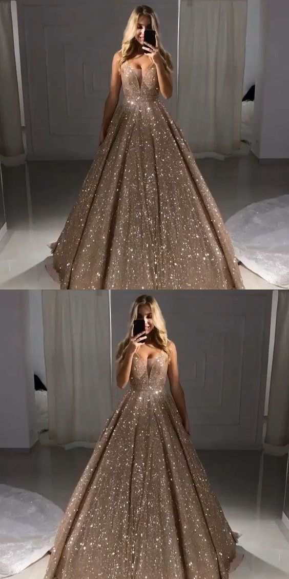 e7990a71e2c Sparkly Ball Gown V Neck Champagne Sequins Long Prom Dresses