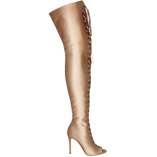 Gianvito Rossi Women 100mm Lace Up Satin Boots (136.860 RUB) ❤ liked on Polyvore featuring shoes, boots, beige, beige lace up boots, peep toe boots, high heel boots, lace up boots and lace up shoes