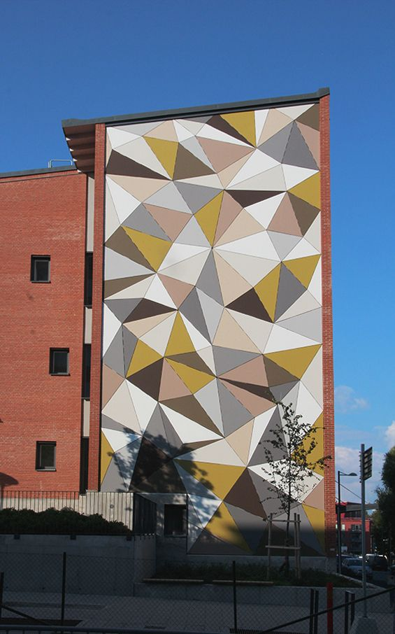 ¨Polygonal Wall¨, Art Project In Stockholm By Artist Jesper Nyren. Material: