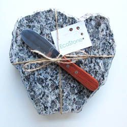 These granite cheese boards are made by EcoStone using repurposed pieces of beautiful and unused granite slabs with wine corks for the base.