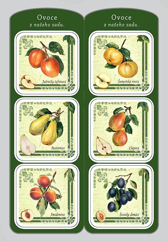 Sada 6 ks podtácků s motivy ovoce
