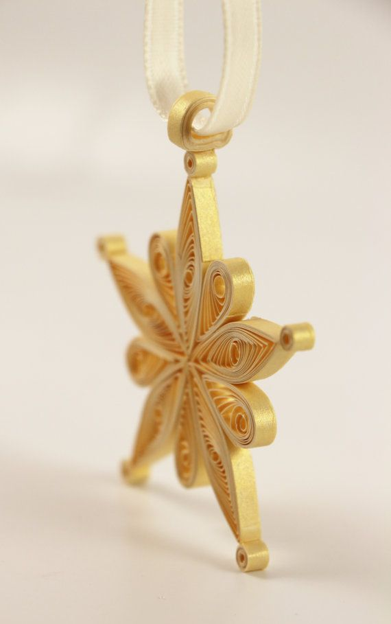 Quilled Snowflake Christmas Tree Ornament Gold by loveinenvelope, $12.00