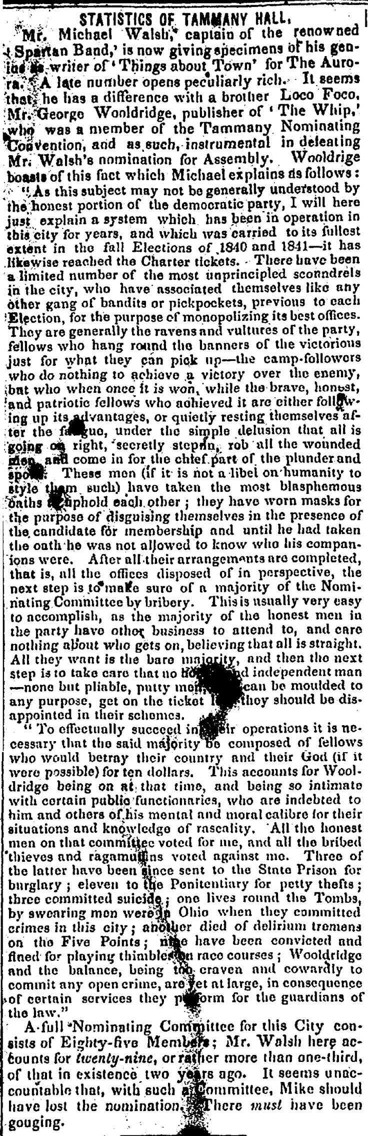 1842. Mike Walsh accuses Democrat rivals (Empire Club?) of being cheats.