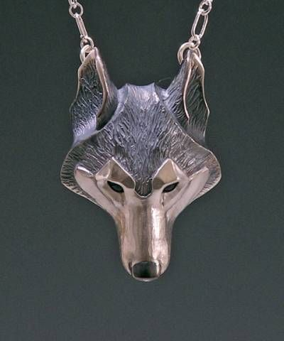 Handmade Silver Jewelry, Wolf Jewelry Pendant, Animal Lovers Gift. Brooke Stone