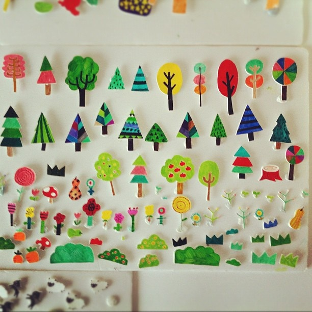 magnet or velcro city made from drawings