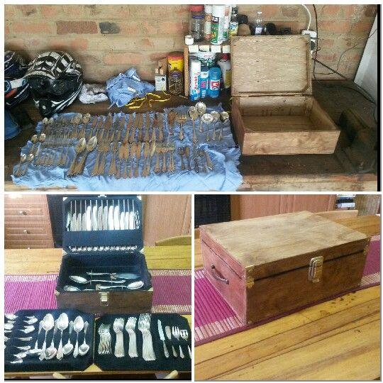 Silver cutlery box, cutlery storage, easy diy, simple box, brass hinges, corner simplicity.