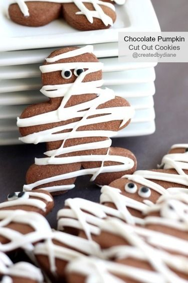 Chocolate Pumpkin Cut Out Cookie-Mummy Cookies for Halloween   Created by Diane