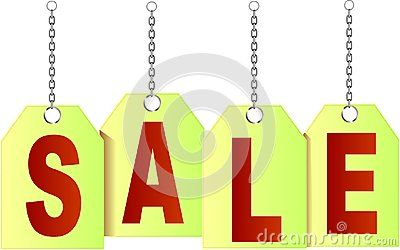 Vector price tags symbolising SALE with chain.