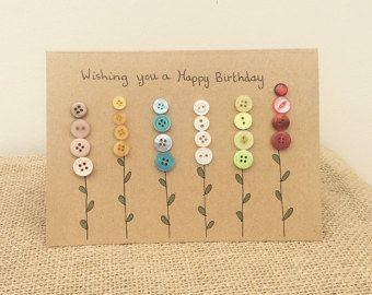 25 + › Handgemachte Geburtstagskarte mit Knöpfen gemacht. Jede Karte wird auf Bestellung handgefertigt …