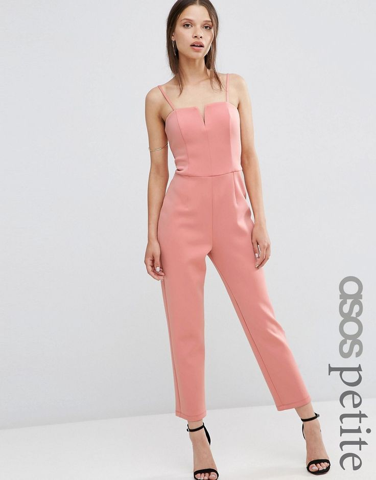 Image 1 of ASOS PETITE Jumpsuit in Scuba with Cut Away Front