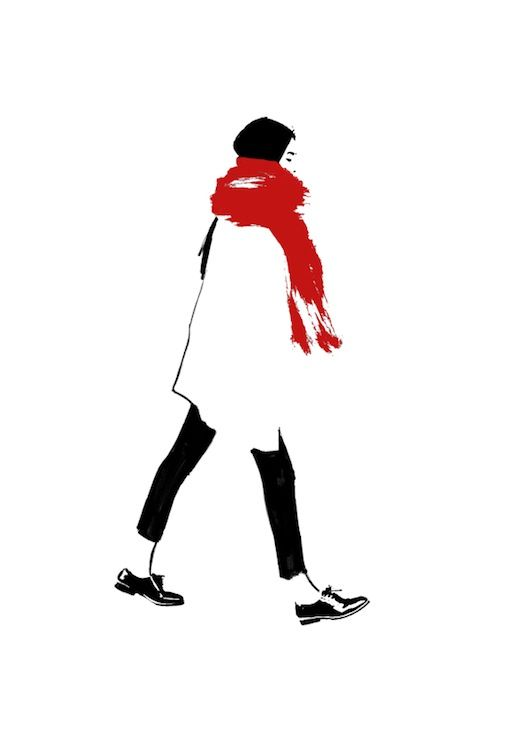 Judith van den Hoek (Black ink, marker, red paint)  The eccentric red in contrast to the simplicity of the black and white outlines of the figure, attracts the eye to the pop of colour and adds an element of surprise and excitement. The minimalistic approach of outlining the jacket, and filling the pants in order to depict the colour and shadows allows for a stronger focus on the scarf. The flicks of the scarf suggest a soft texture and tactile in fabric choice.