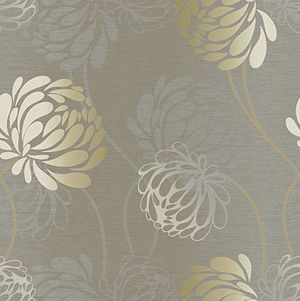 Flourish Wallpaper in Silver and Champagne from Modern Chic Home