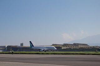 Airplane Landing at Husein Sastranegara International Airport, Bandung Jawa Barat - Indonesia
