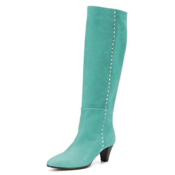 c440811042d Cyan Chunky Heel Long Boots Knee High Boots | Women's shoes & heels ...