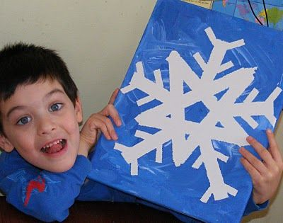 Easy snowflake art - make a flake with masking tape on canvas, then paint over it.  Could also make Star of David...  from Ten kids and a Dog.