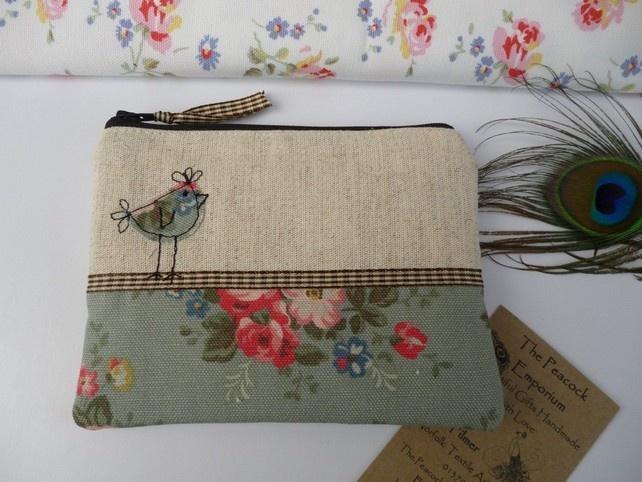 Handmade Shabby Chic Coin Purse Makeup bag, Cath Kidston Green Bunch fabric, Hen