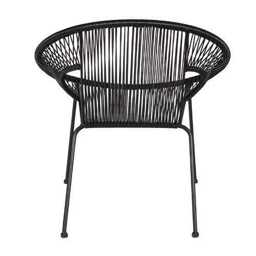 Fauteuil lounge en métal et fibre synthétique filaire noir