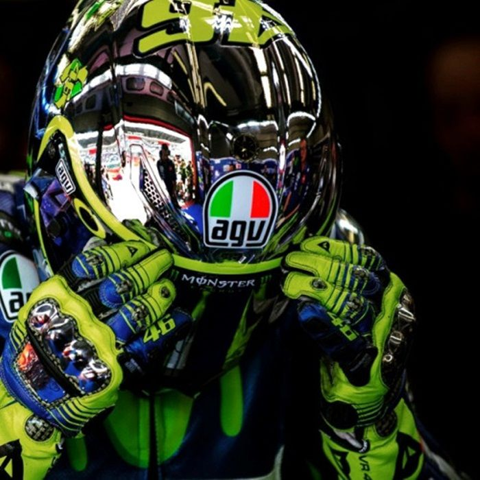 Valentino Rossi 'Yellow Energy' helmet (Mugello 2015): Valentino Rossi's 2015 Mugello was a tribute to the fans and included solar panels and an energy gauge detailing how Rossi's energy rises over the course of a weekend thanks to the fans  This helmet had a reflective surface that looked stunning in the Italian sun, and the helmet has become known as the 'Yellow Energy' helmet.