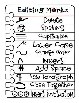 editing marks. Great reference for kids to have in their