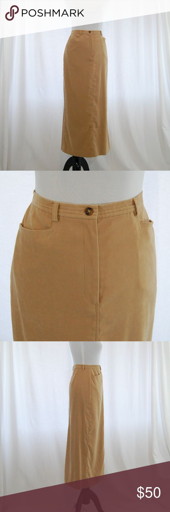 "🆕 Talbots Classic Khaki/Tan Maxi Skirt Long skirt (midi or maxi - depending on your height - see measurements)  Khaki / tan color Center button and zip at front High back slit  Excellent condition with little to no wear.  Belt loops  Suede-feel material 96% polyester / 4% spandex  Approximate measurements (taken flat): Waist = 15.5"" Hip = 21"" Length = 37"" Slit = 17""  <CT21> Talbots Skirts Maxi"