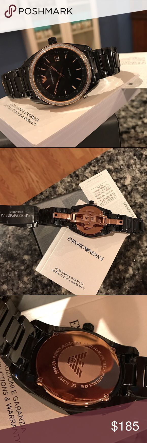 $525 Ladies Emporio Armani Ceramic watch AR1496 Armani GA Cleramica AR1496  * Black ceramic 💎 Rose gold 🔥 Glitz 💎  * Analog Scratch resistant mineral crystal.  * Case size: 39 mm. Case thickness: 8 mm. Round case shape. Band width: 16 mm. Deployment clasp. Water resistant 50 meters.  * UPC: 723763230681 / Retail: $525  * NO TRADES. Buy now or offer only * Shipped same business day. Emporio Armani Accessories Watches