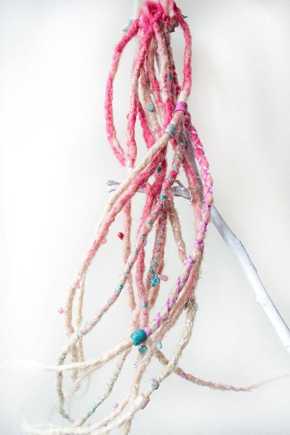 10 very long crochet synt. dreadlocks. pink by SkullptureCraft