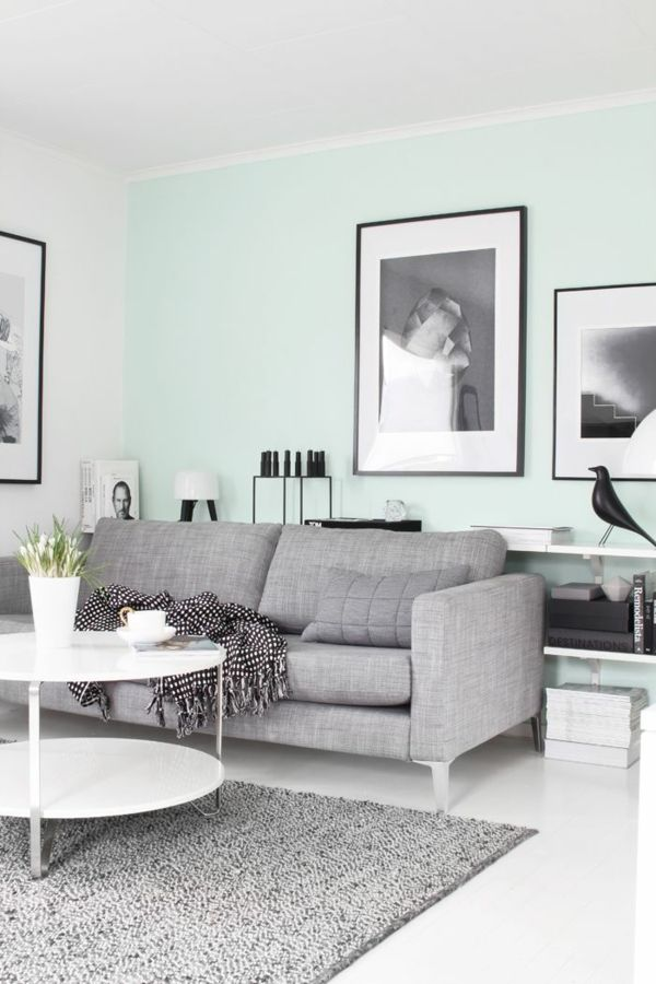 Wandfarbe Minzgrun Wohnzimmer Sofa Grau