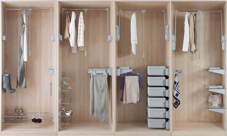 Wonderful wardrobes with Ambos!  A comprehensive range of wardrobe lifts, clothing racks and hangers, accessory storage fittings, shelf brackets and wardrobe rods.