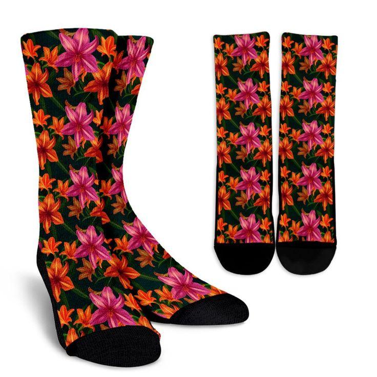 Amaryllis Pattern Print Design AL01 Crew Crew Socks