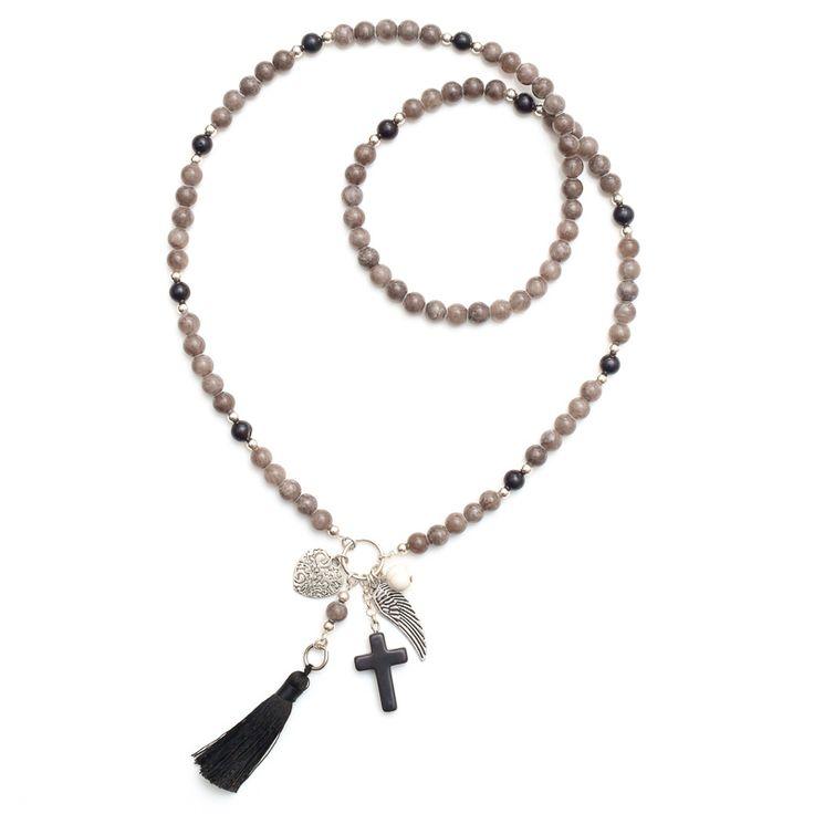 xada jewellery - Smokey grey and black tassel necklace, $67.95 (http://www.xadajewellery.com/necklaces/smokey-grey-and-black-tassel-necklace/)