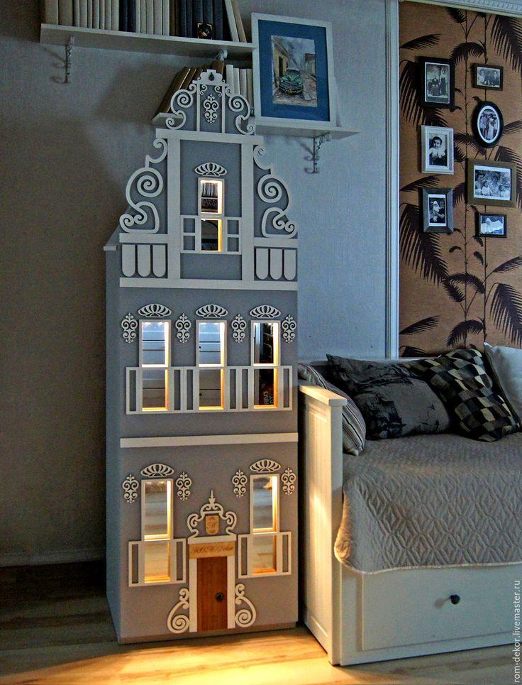 """Купить СКИДКА 10% на Детский шкаф-домик с подсветкой """"Pearl"""" - серый, детские шкафы"""